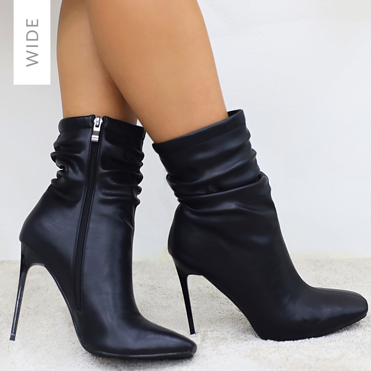 Alivia Wide Fit Black Ruched Stiletto Ankle Boots