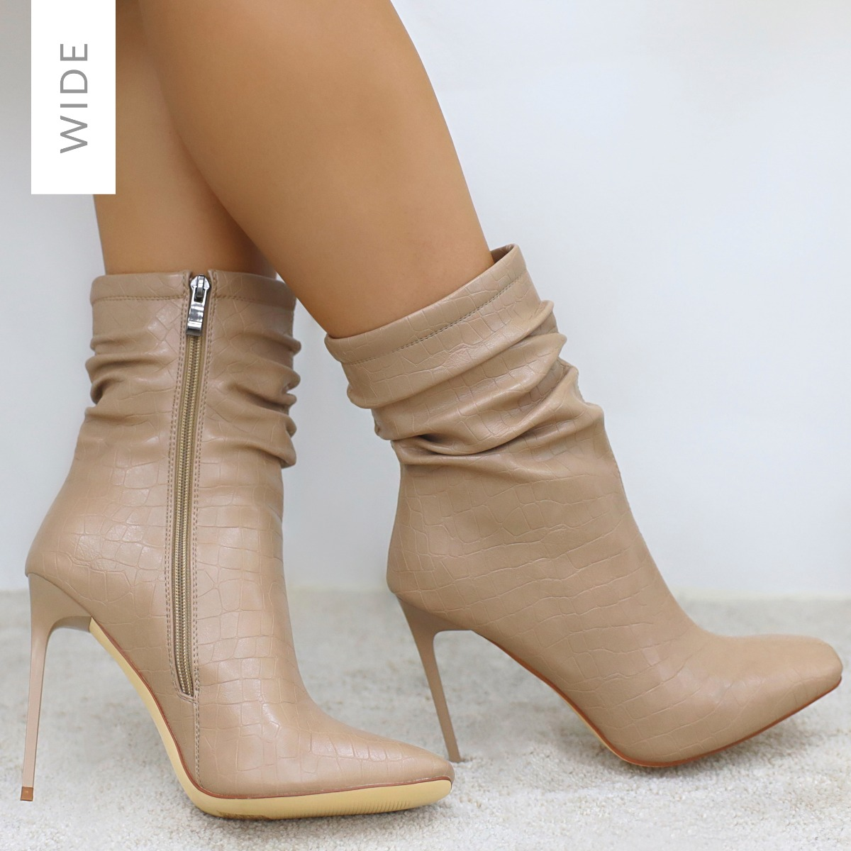 Alivia Wide Fit Nude Faux Croc Print Ruched Stiletto Ankle Boots