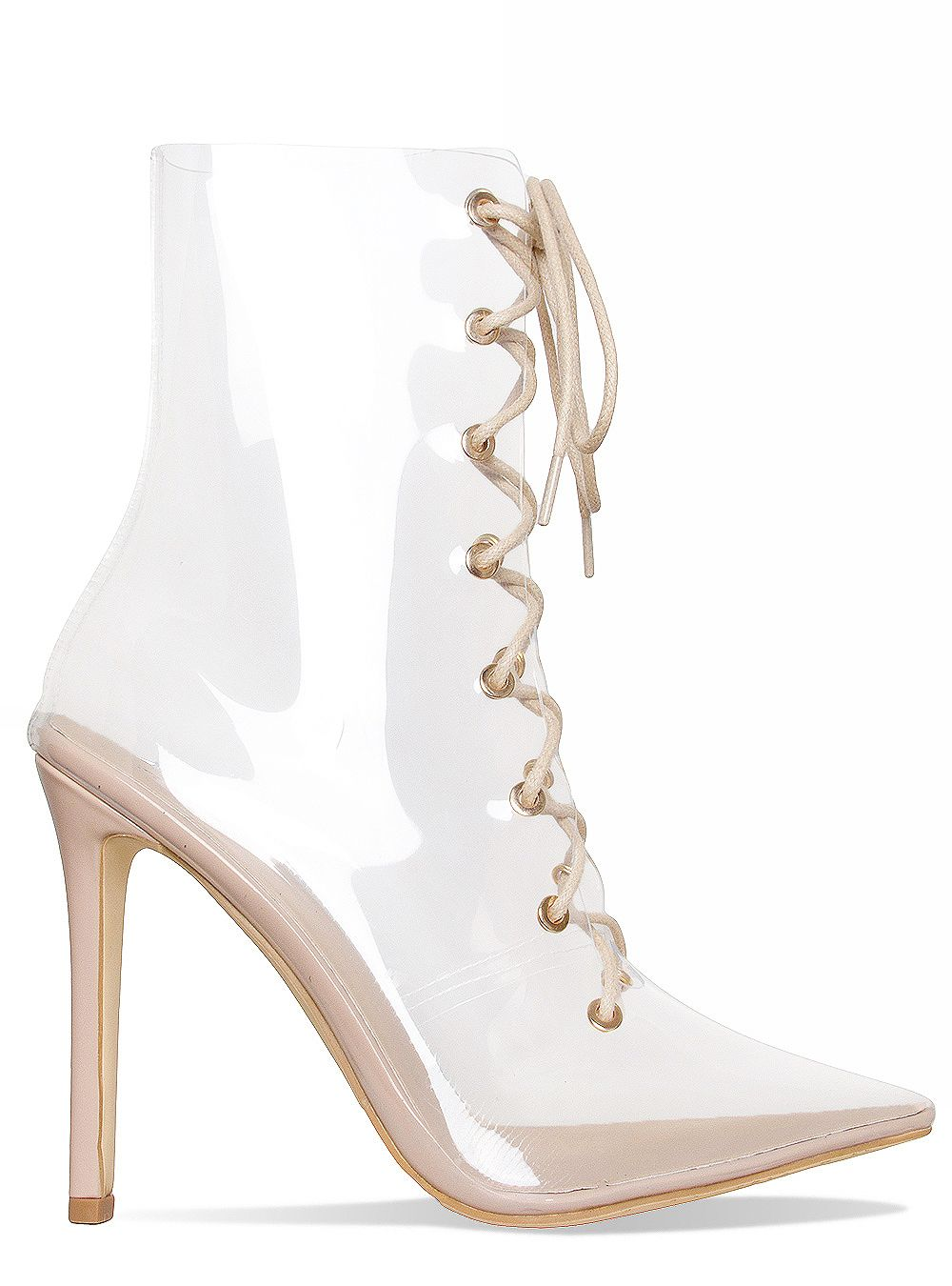 Andrea True Nude andrea nude clear lace up ankle boots