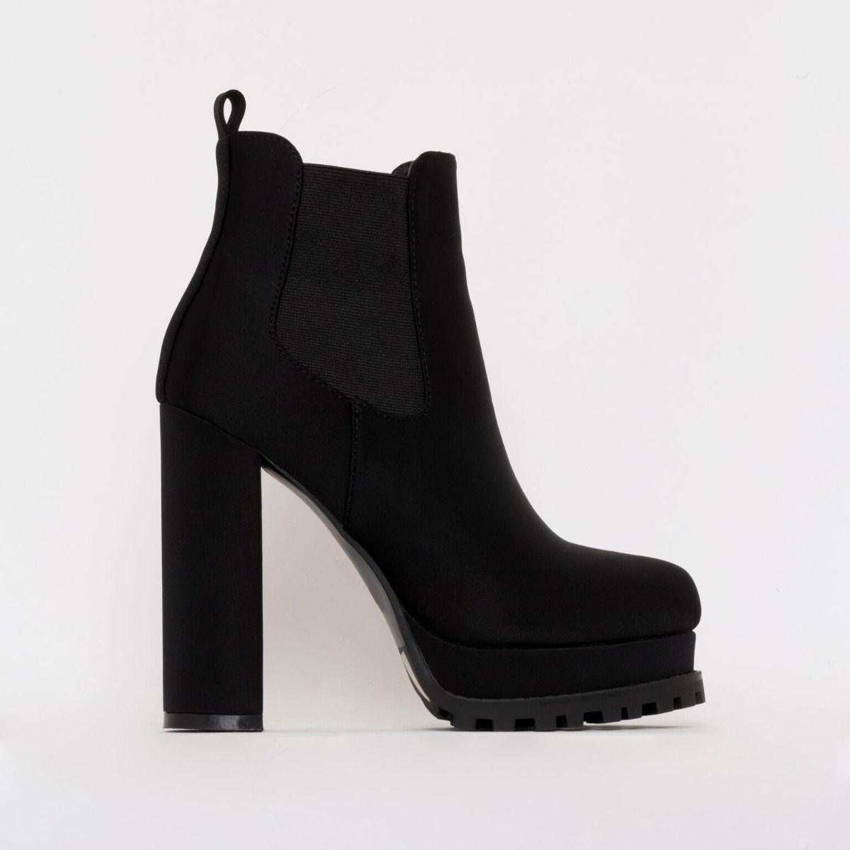 Aura Black Lycra Platform Ankle Boots
