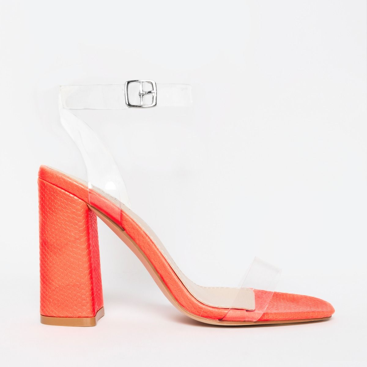 Snake Clear Block Heel Sandal