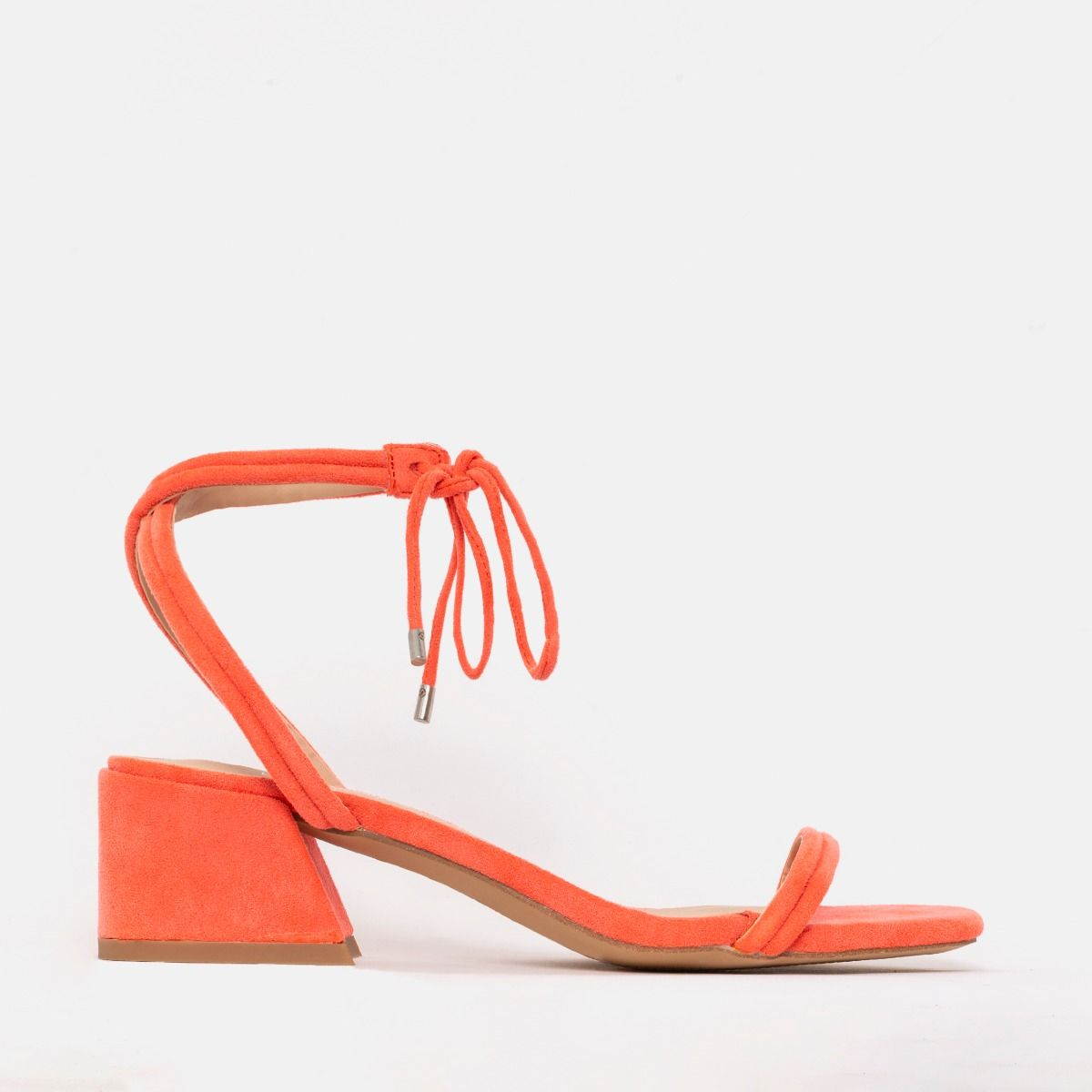 los angeles buy buying new Maddy Coral Suede Lace Up Mid Block Heels