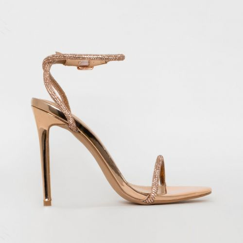 Ieva Rose Gold Mirror Diamante Stiletto Heels