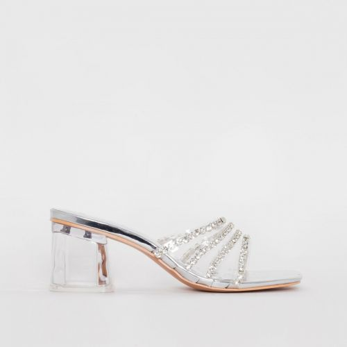 Rennie Silver Mirror Diamante Clear Mid Heel Mules