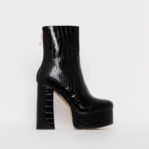 Lacey Black Croc Print Chunky Platform Ankle Boots