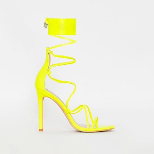 Miah Neon Yellow Snake Print Strappy Lace Up Heels