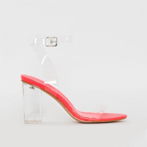 Kimana Pink Snake Print Clear Mid Block Heels