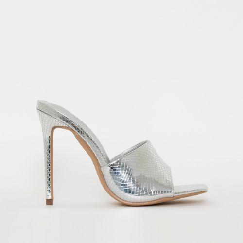 Amalie Silver Snake Print Stiletto Mule Heels