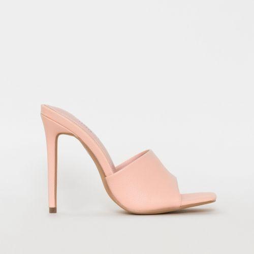 Amalie Pink Snake Print Stiletto Mule Heels
