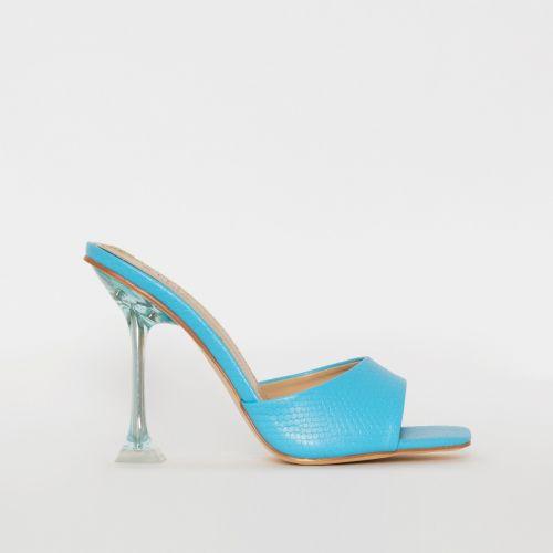 Eloura Blue Snake Print Flared Heel Mules