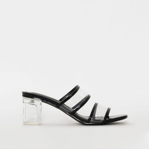 Karem Black Patent Snake Print Midi Heel Mules