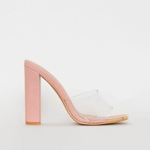 Helix Pink Snake Print Clear Block Heel Mules