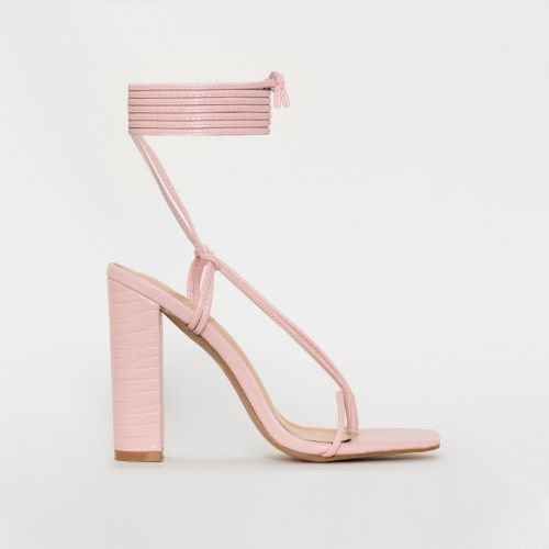 Heera Pink Snake Print Lace Up Block Heels