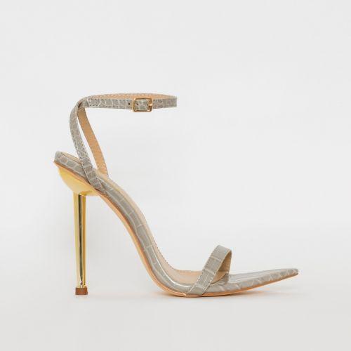 Fran Grey Croc Print Stiletto Heels