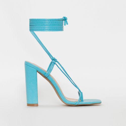 Heera Blue Snake Print Lace Up Block Heels