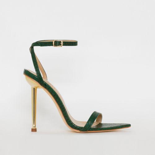 Fran Green Croc Print Stiletto Heels