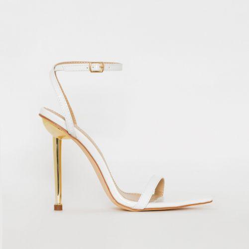 Fran White Croc Print Stiletto Heels