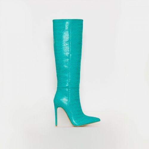 Delia Turquoise Croc Print Stiletto Knee Boots