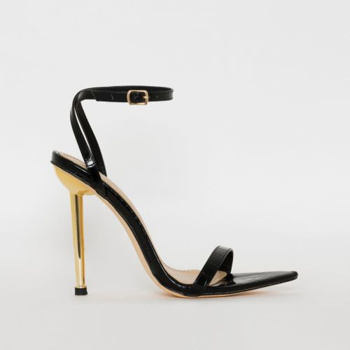 Fran Black Croc Print Stiletto Heels