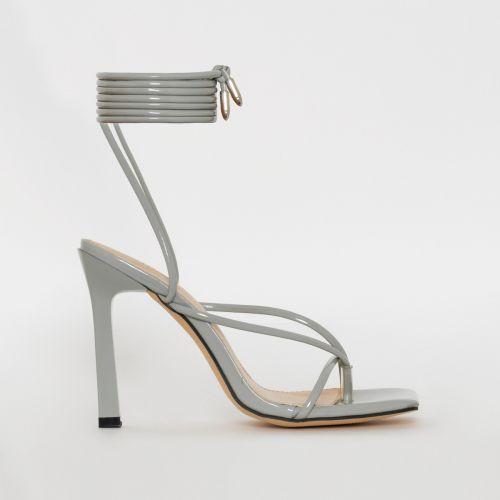 Kimani Grey Patent Print Lace Up Stiletto Heels