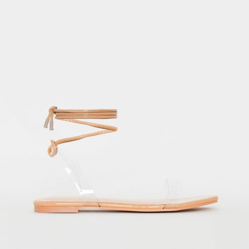 Laurel Clear Nude Patent Lace Up Flat Sandals