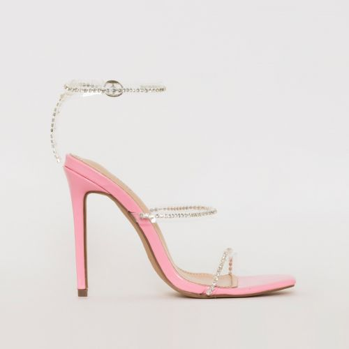 Evie Pink Patent Clear Diamante Stiletto Heels