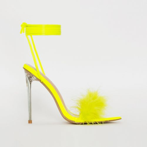 Obey Fluffy Neon Yellow Patent Lace Up Stiletto Heels