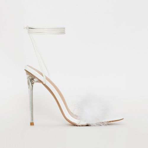 Obey Fluffy White Patent Lace Up Stiletto Heels