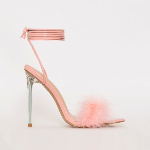 Obey Fluffy Pink Patent Lace Up Stiletto Heels