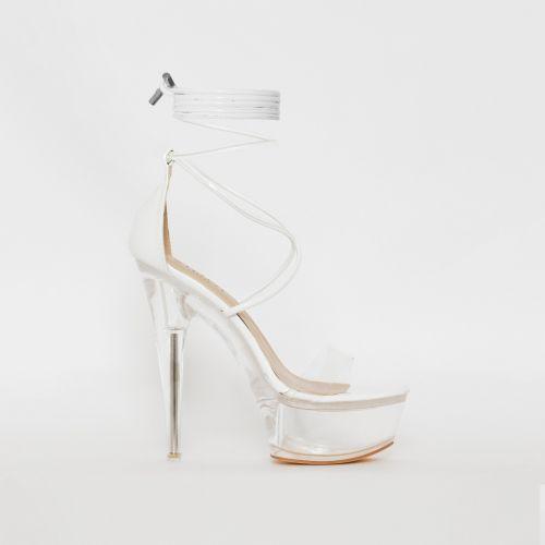 Destiny White Patent Clear Platform Heels