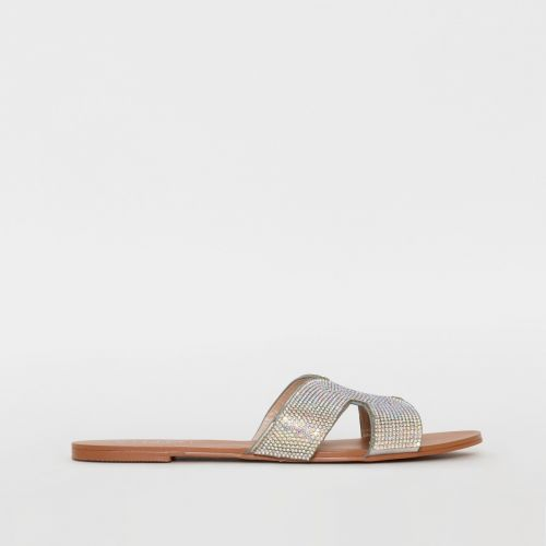 Nikki Silver Diamante Cut Out Sliders