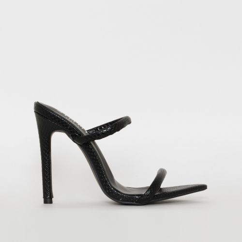 Riola Black Snake Print Strappy Stiletto Mules