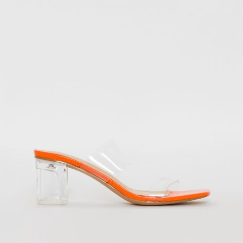 Kola Orange Patent Clear Midi Heel Mules