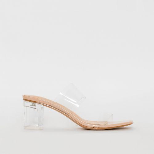 Kola Nude Patent Clear Midi Heel Mules