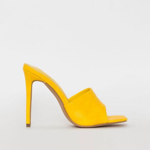 Amalie Yellow Snake Print Stiletto Mule Heels