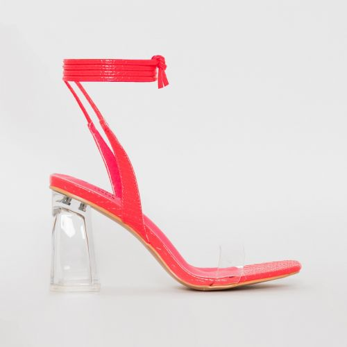 Romi Pink Patent Snake Print Lace Up Clear Block Heels