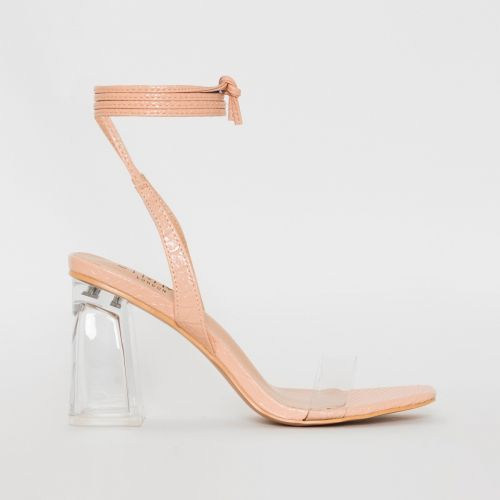 Romi Nude Patent Snake Print Lace Up Clear Block Heels