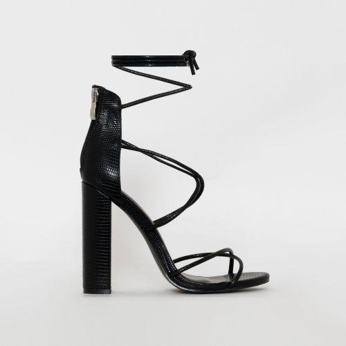 Tamina Black Snake Print Strappy Block Heels