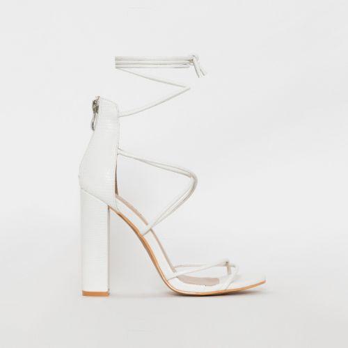 Tamina White Snake Print Strappy Block Heels