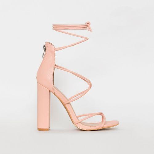 Tamina Pink Snake Print Strappy Block Heels