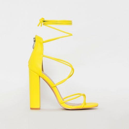 Tamina Yellow Snake Print Strappy Block Heels