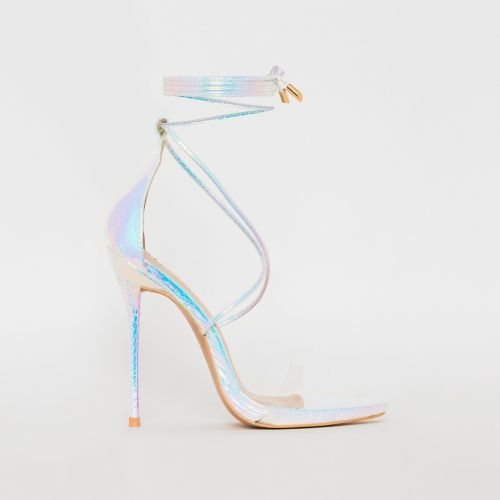 Shania Silver Rainbow Python Lace Up Stiletto Heels