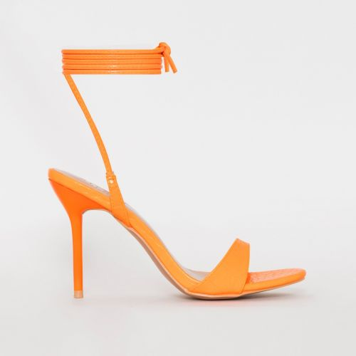 Harvey Orange Croc Print Lace Up Stiletto Heels