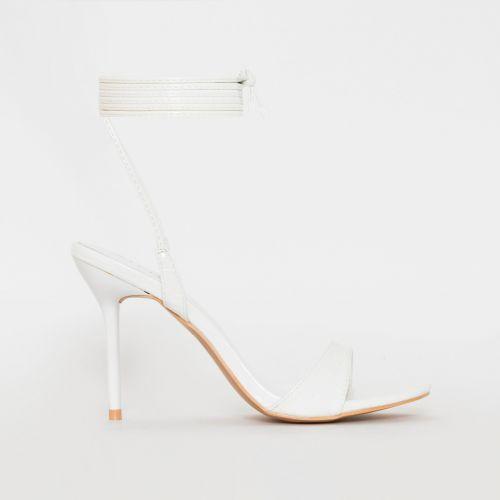 Harvey White Patent Croc Print Lace Up Stiletto Heels