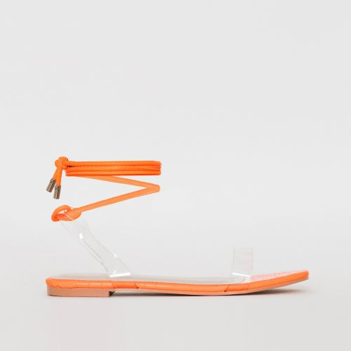 Laurel Clear Orange Croc Print Lace Up Flat Sandals