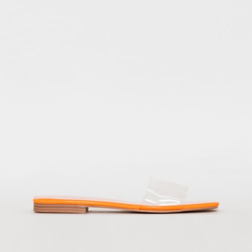 Rhianne Clear Orange Patent Sliders