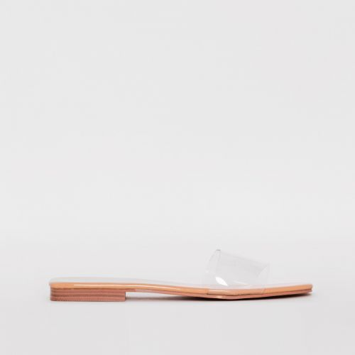 Rhianne Clear Nude Patent Sliders