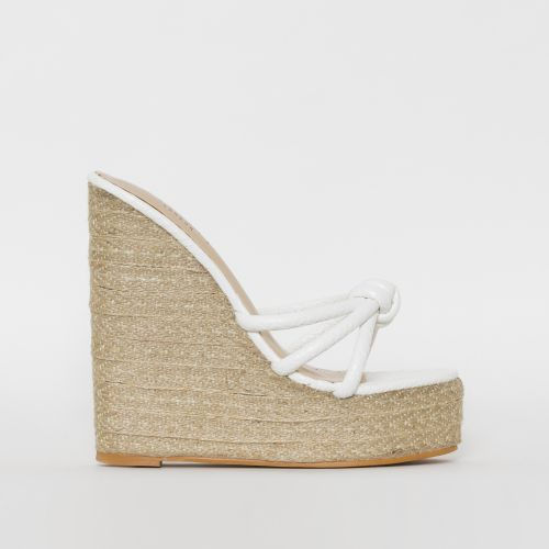 Toyah White Faux Snake Print Espadrille Mule Wedges