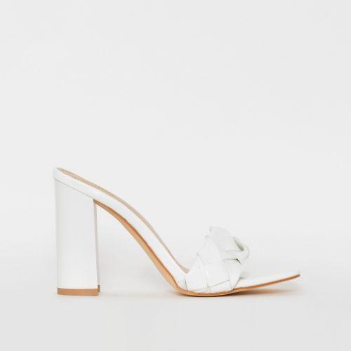 Toura White Woven Block Heels
