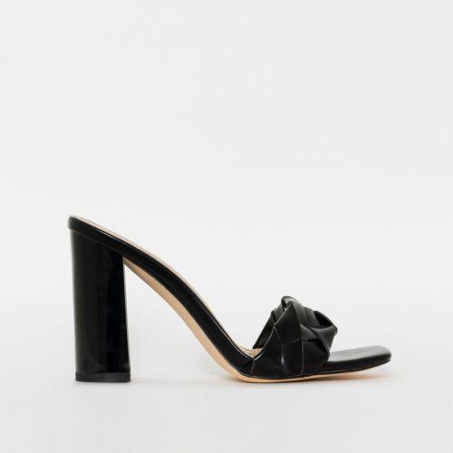 Toura Black Woven Block Heels